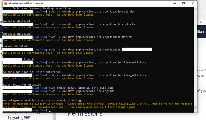upgrade already in progress-clean