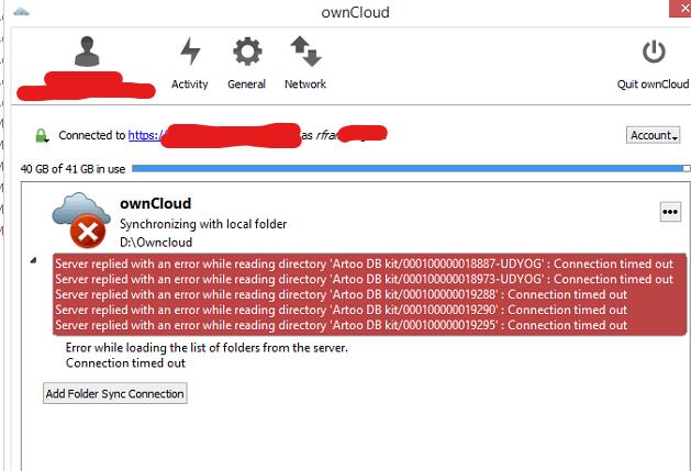 owncloud client error