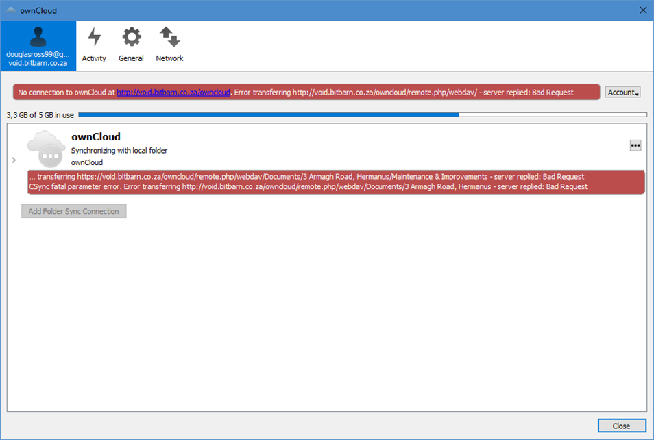 Server replied - bad request - Server - ownCloud Central