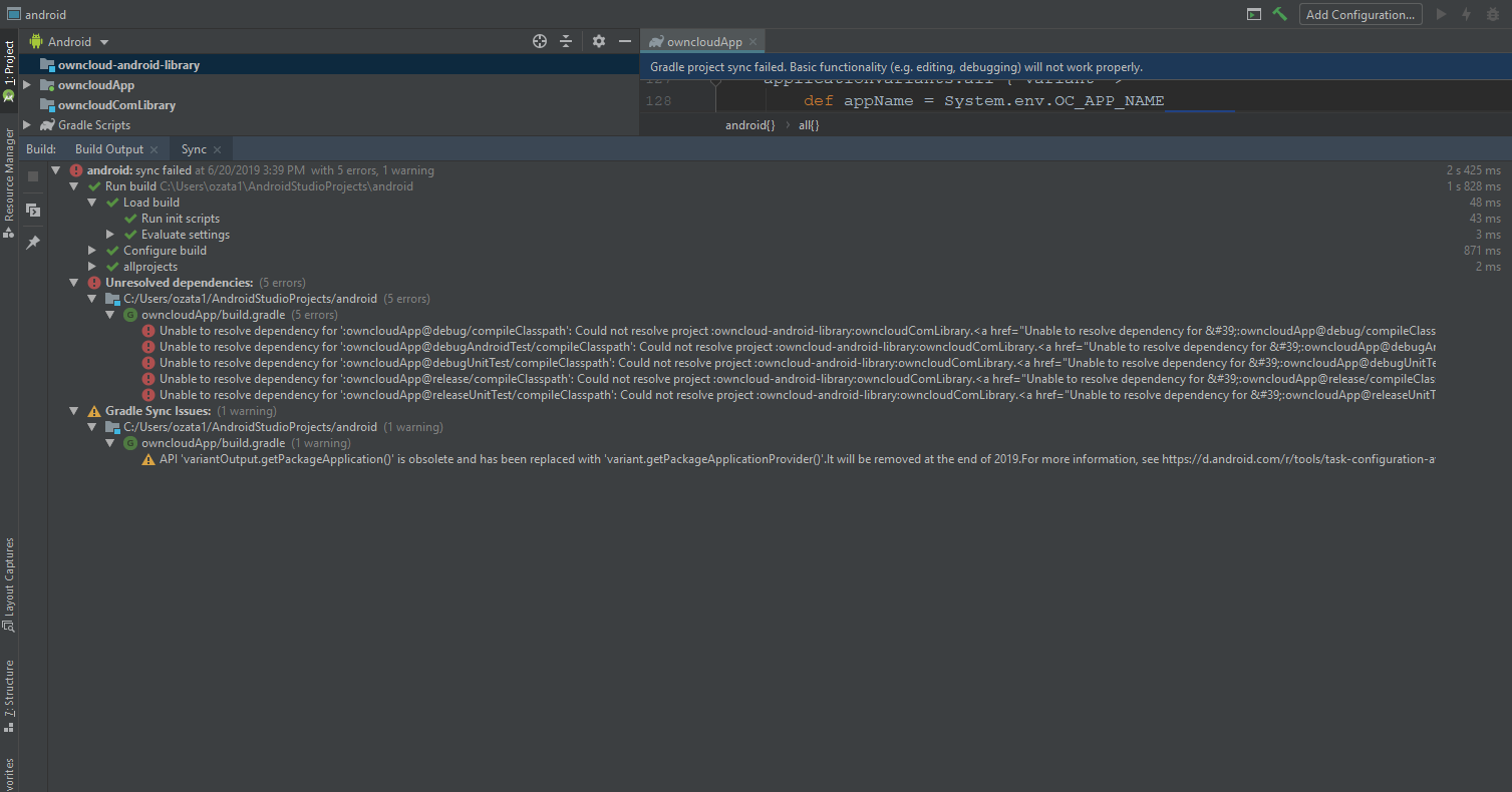 Android App does not build - Android - ownCloud Central